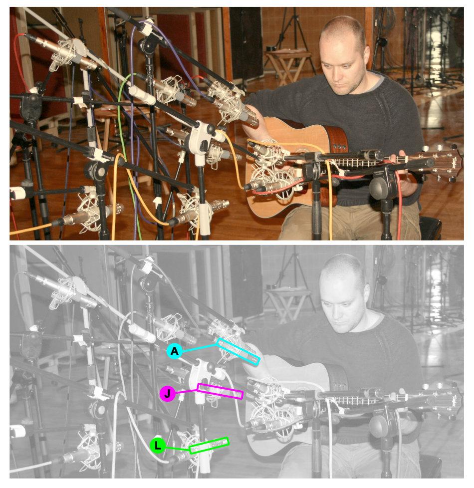 Acoustic guitar multimic setup 1: vertical spotlight sweep