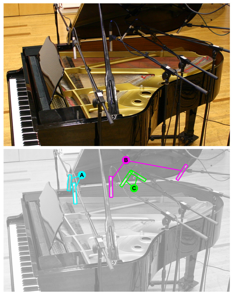 Acoustic grand piano multimic setup 8