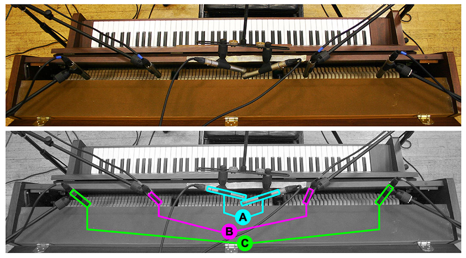 Acoustic upright piano multimic setup 1