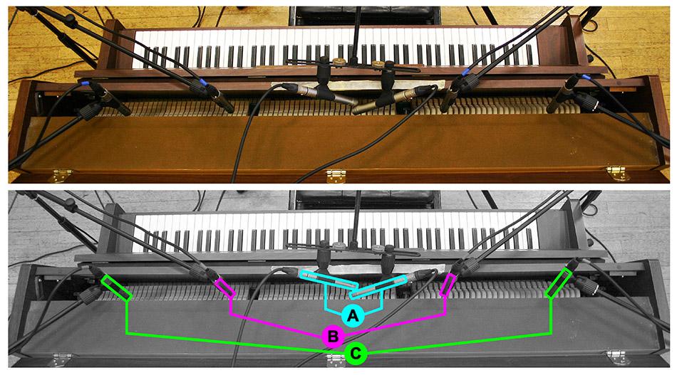 Acoustic upright piano multimic setup 1