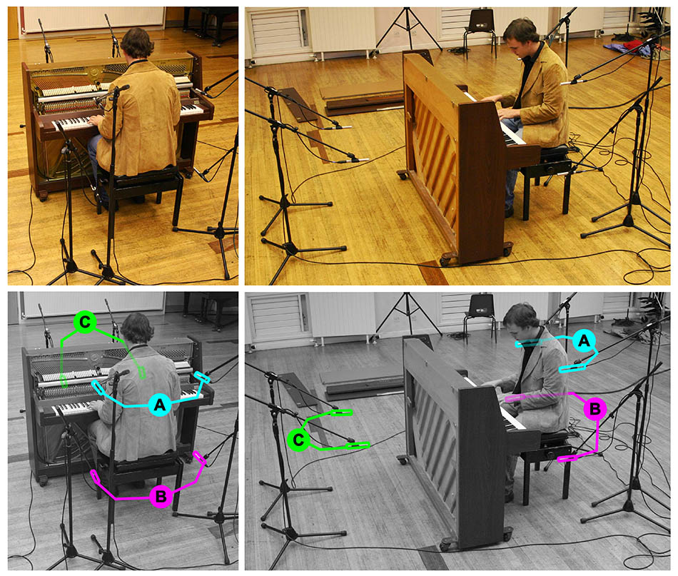 Acoustic upright piano multimic setup 2