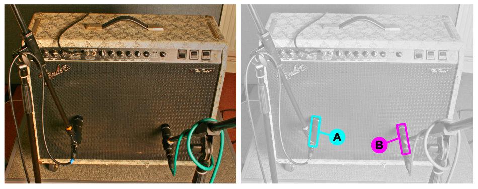 Electric guitar cabinet multimic setup 4