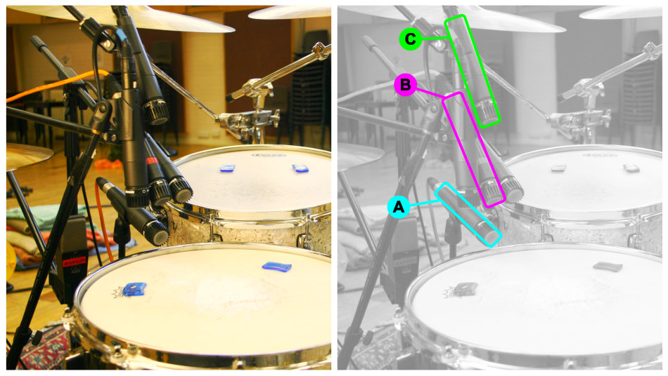 Snare drum multimic setup 1: miking distance