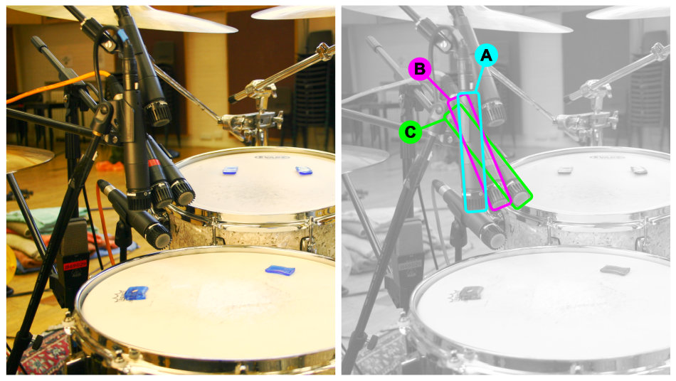 Snare drum multimic setup 1: miking angle