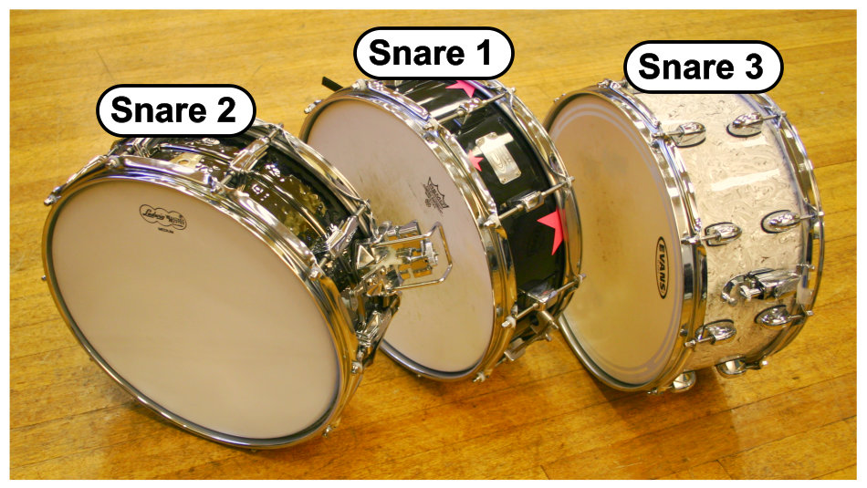 Snare drum multimic setup 2: three different snare drums