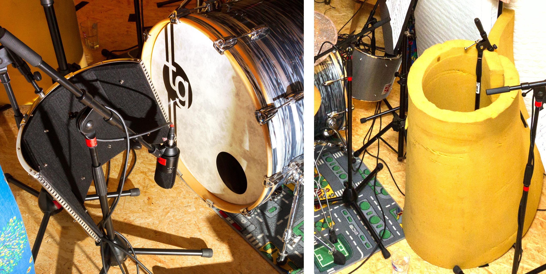 Microphone setup for kick drum