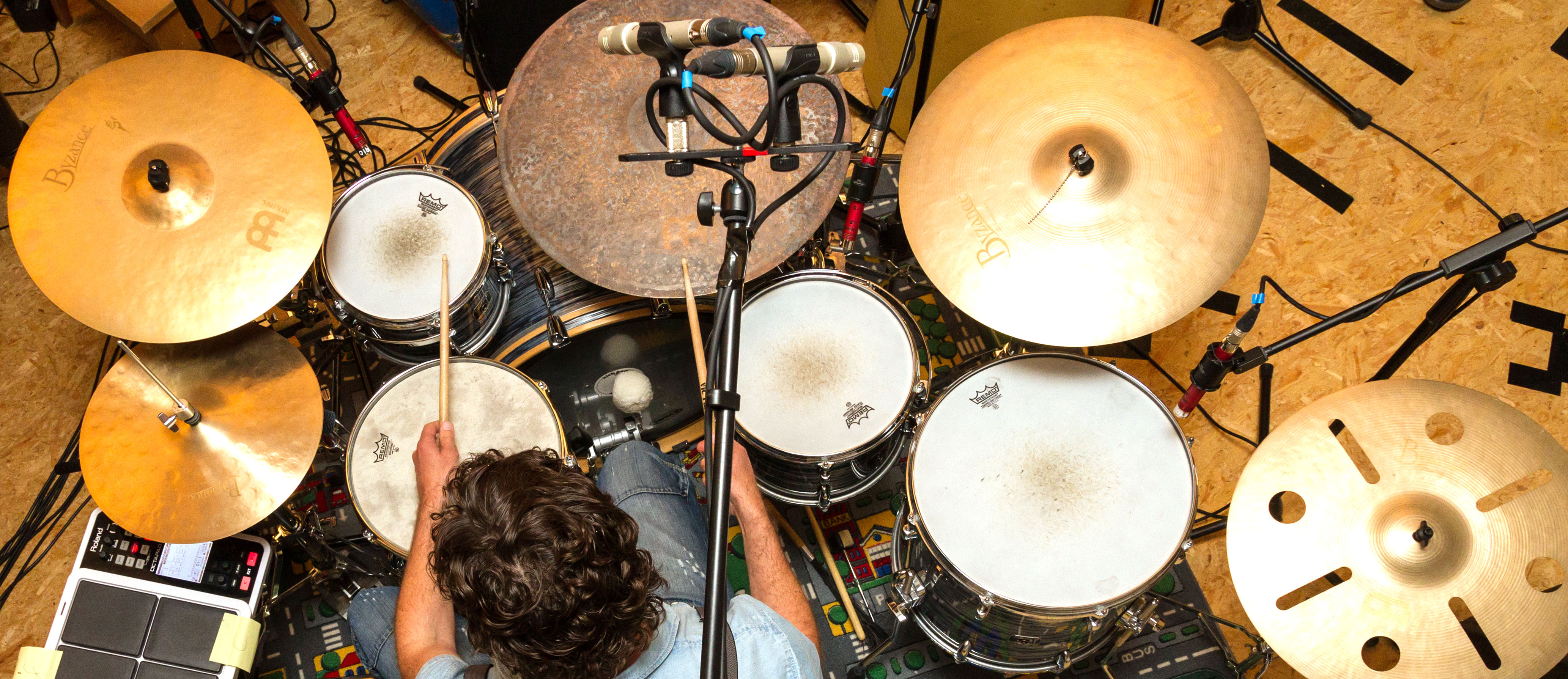 Microphone setup for drum overheads