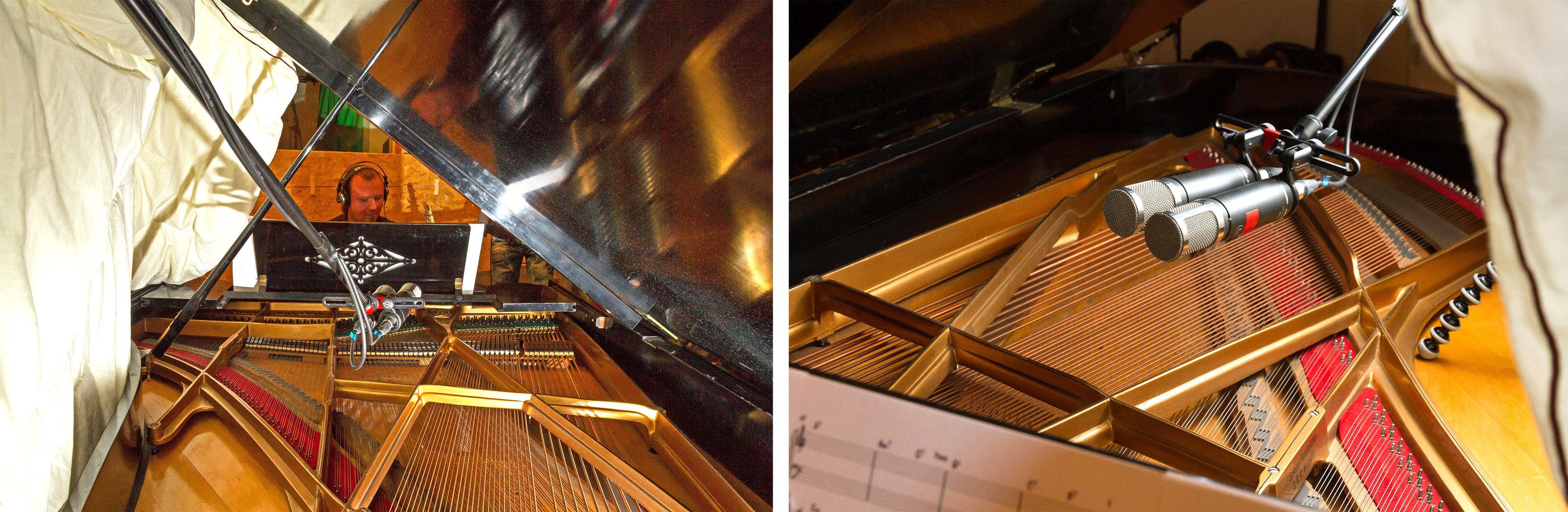 Microphone setup for grand piano