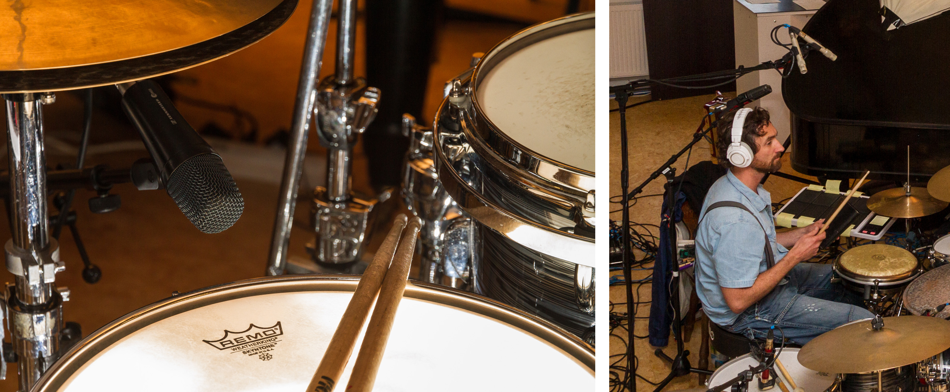 Microphone setup for snare drum (early experiment)